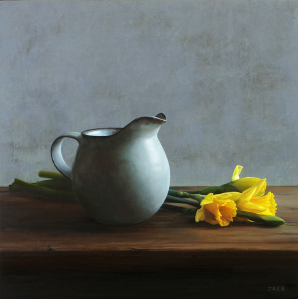daffodils, jug, oil painting